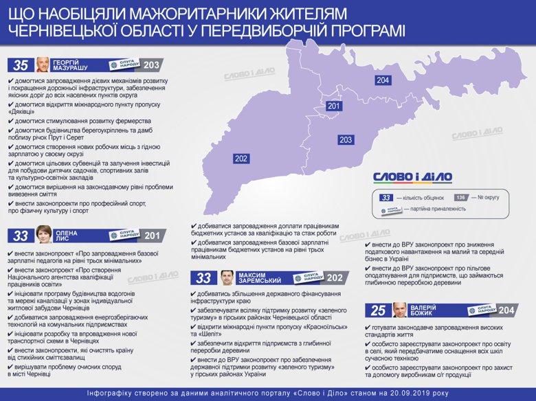 Мажоритарники Чернівецької області, зокрема, обіцяли розвиток зеленого туризму, вирішення проблеми зі сміттям та відкриття міжнародних пунктів пропуску.