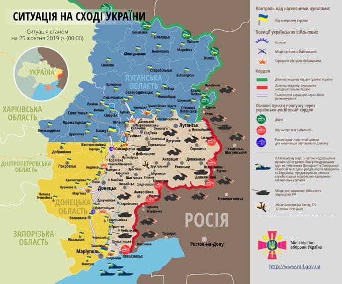Ситуація на сході країни на 25 жовтня 2019 року за даними РНБО України, пресцентру ООС, Міністерства оборони, журналістів і волонтерів.