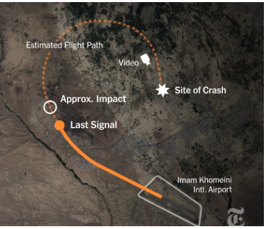 Репортеры издания The New York Times воссоздали схему падения самолета МАУ в Иране. Видео опубликовали на странице издания в понедельник, 13 января.
