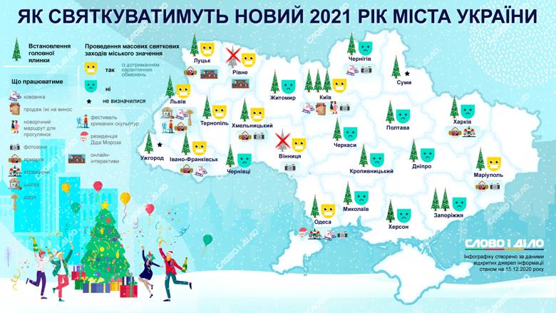 В Киеве установят три елки, возле каждой будет праздничная локация. Вообще не будет главной елки в Виннице и Ровно.