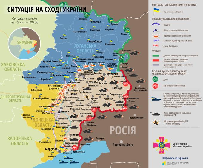 Ситуація на сході країни станом на 00:00 15 липня 2015 року за даними РНБО України, прес-центру АТО, Міноборони, журналістів та волонтерів.