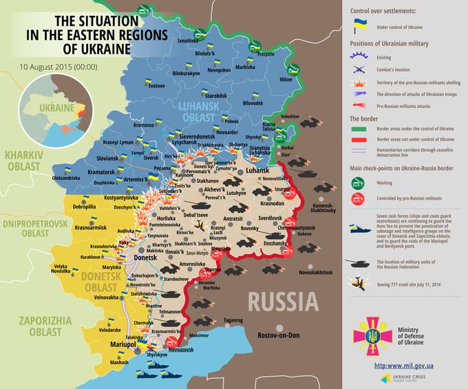 Ситуація на сході країни станом на 00:00 10 серпня 2015 року за даними РНБО України, прес-центру АТО, Міноборони, журналістів та волонтерів.