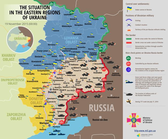 Ситуація на сході країни станом на 00:00 19 листопада 2015 за даними РНБО України, прес-центру АТО, Міноборони, журналістів та волонтерів.