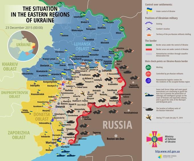 Ситуація на сході країни станом на 00:00 23 грудня 2015 року за даними РНБО України, прес-центру АТО, Міноборони, журналістів та волонтерів.