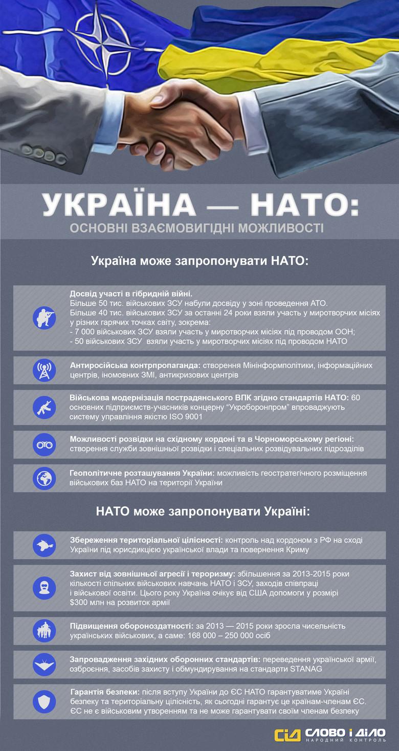 Багато політиків обіцяли приєднання України до Північноатлантичного альянсу. Поступово Збройні сили країни переходять на стандарти НАТО, а також поглиблюють співпрацю із західними союзниками.