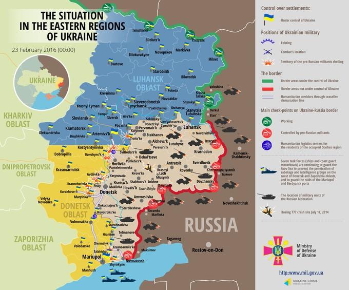 Ситуація на сході країни станом на 00:00 23 лютого 2016 року за даними РНБО України та прес-центру АТО