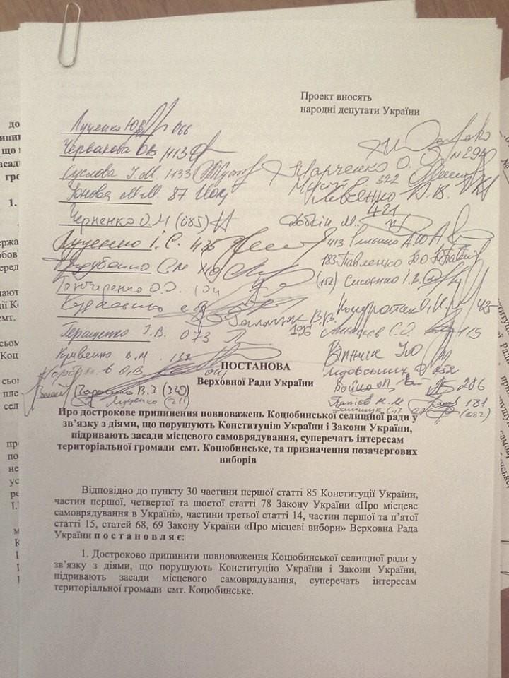 Близько 30 народних депутатів підписалися під проектом постанови про дострокове припинення повноважень Коцюбинської селищної ради (Київська область, Ірпінський район).