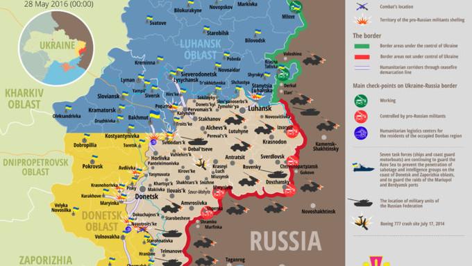 Ситуація на сході країни на 00:00 28 травня 2016 року за даними РНБО України, прес-центру АТО, Міноборони, журналістів і волонтерів.