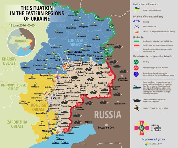 Ситуація на сході країни на 00:00 19 червня 2016 року за даними РНБО України, прес-центру АТО, Міноборони, журналістів і волонтерів.