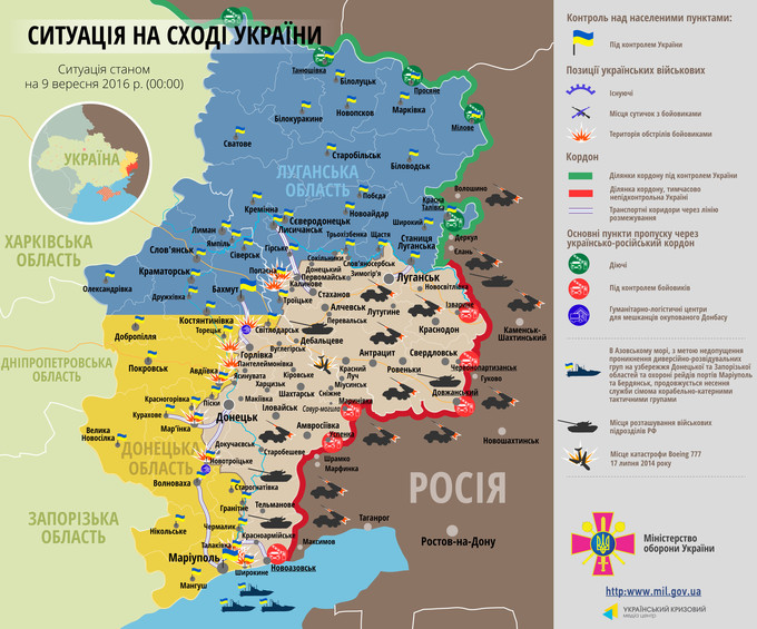 Ситуація на сході країни станом на 00:00 9 вересня 2016 року за даними РНБО України, прес-центру АТО, Міноборони, журналістів та волонтерів.