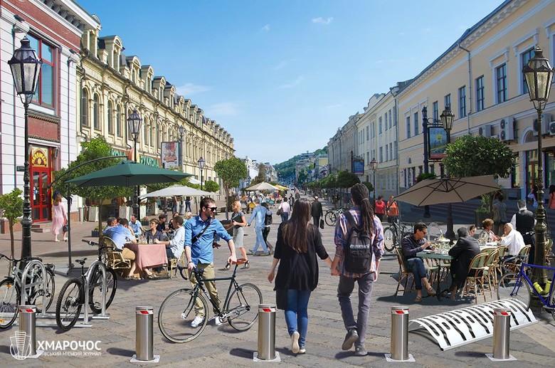 Журналісти вважають, що п'ять вулиць у центрі столиці варто перекрити для руху автівок, і проілюстрували, як вони могли б виглядати.