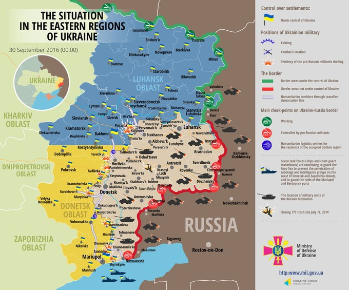 Ситуація на сході країни станом на 00:00 30 вересня 2016 року за даними РНБО України, прес-центру АТО, Міноборони, журналістів та волонтерів.