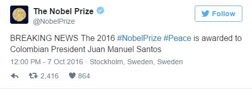 Нобелівську премію миру отримав президент Колумбії Хуан Мануель Сантос за вирішення конфлікту з партизанами Революційних збройних сил.