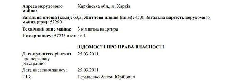 Народный депутат и экс-советник главы МВД Антон Геращенко владеет в Харькове двумя трехкомнатными квартирами.