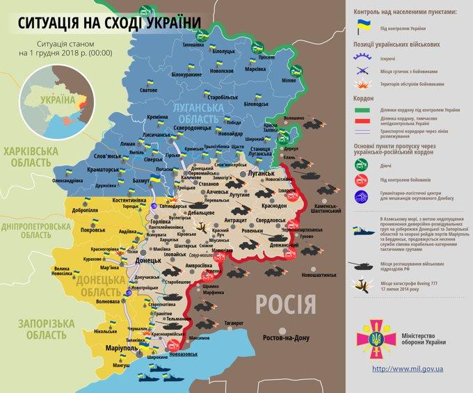 Ситуація на сході країни станом на 1 грудня 2018 року за даними РНБО України, прес-центру ООС, Міністерства оборони, журналістів і волонтерів.