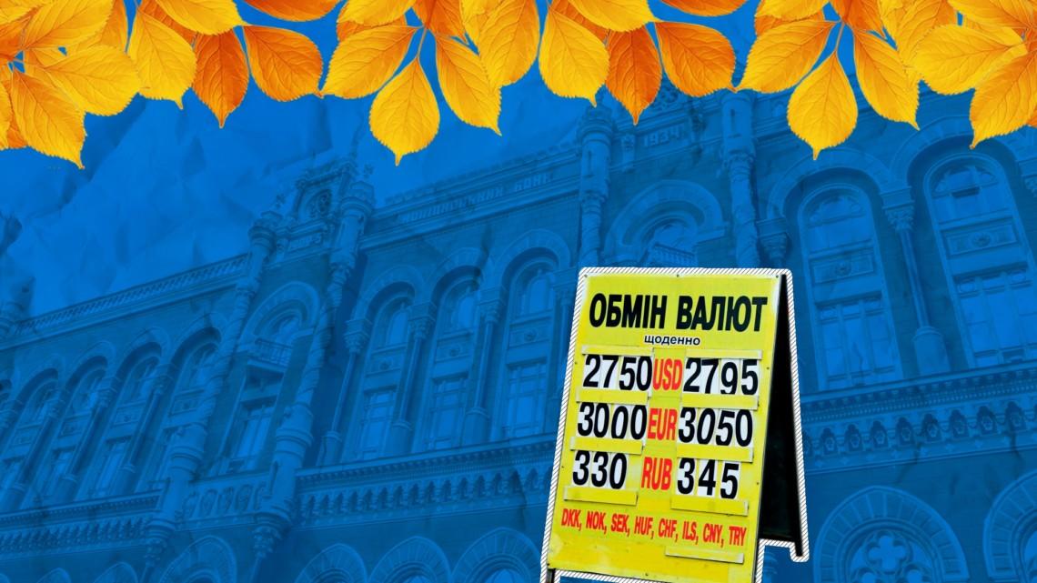 Національний банк України на 21 жовтня 2020 встановив офіційний курс на рівні 28,37 грн за долар. Це на 1 копійку нище у порівнянні з минулим банківським днем.