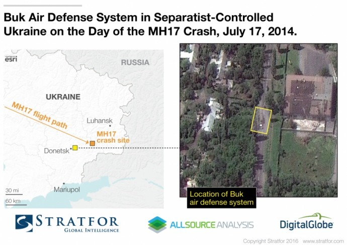 Аналітичне агентство Stratfor опублікувало супутникове фото, на якому імовірно зображена ракетна установка «Бук» у Макіївці.