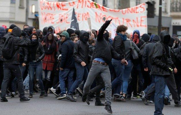 Встолице франции впреддверии президентских выборов состоялась агрессивная акция протеста