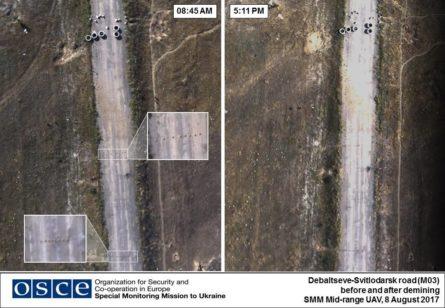 Во вторник, 8 августа, беспилотник Специальной мониторинговой миссии ОБСЕ зафиксировал наличие противотанковых мин на автотрассе МО3 Светлодарск-Дебальцево в Донецкой области.