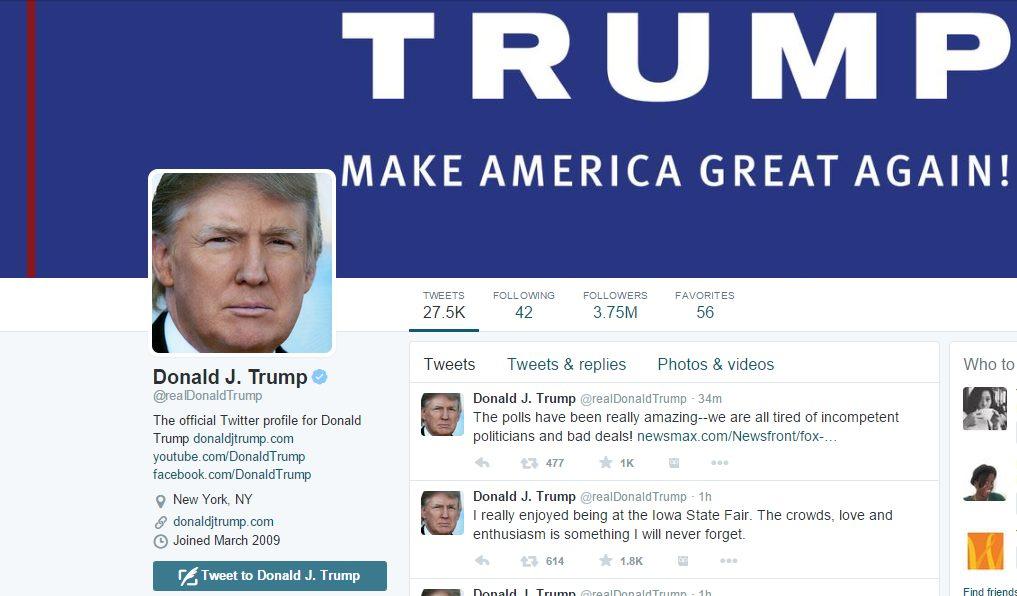 Трампа хотят отнять возможности писать в социальная сеть Twitter
