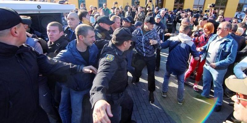 ВОдессе намитинге подрались сторонники ипротивники Саакашвили