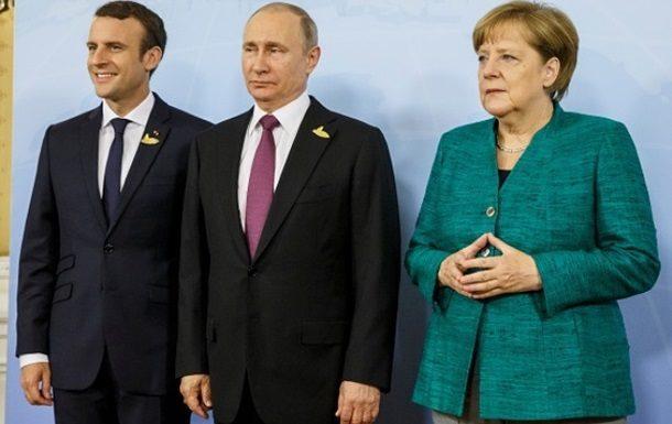 ВКремле поведали оразговоре В. Путина сМеркель иМакроном