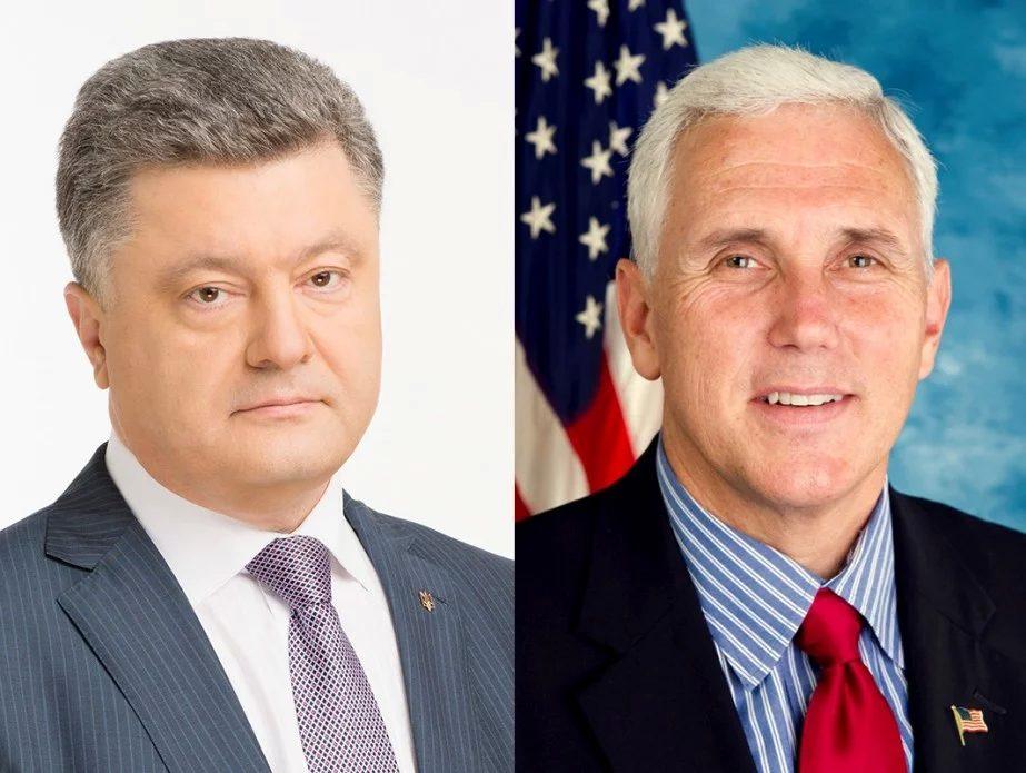 Порошенко иПенс обсудили Донбасс исанкции противРФ