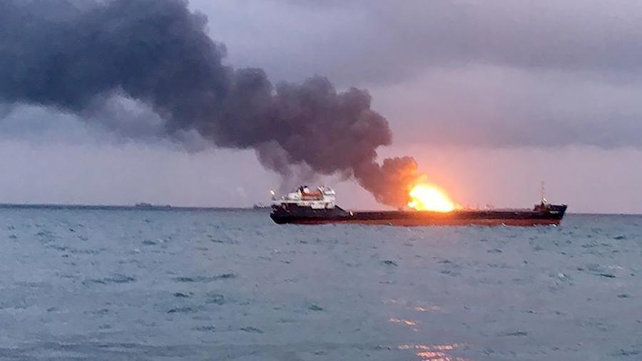 Сгоревший около Керченского пролива танкер находился под санкциями США