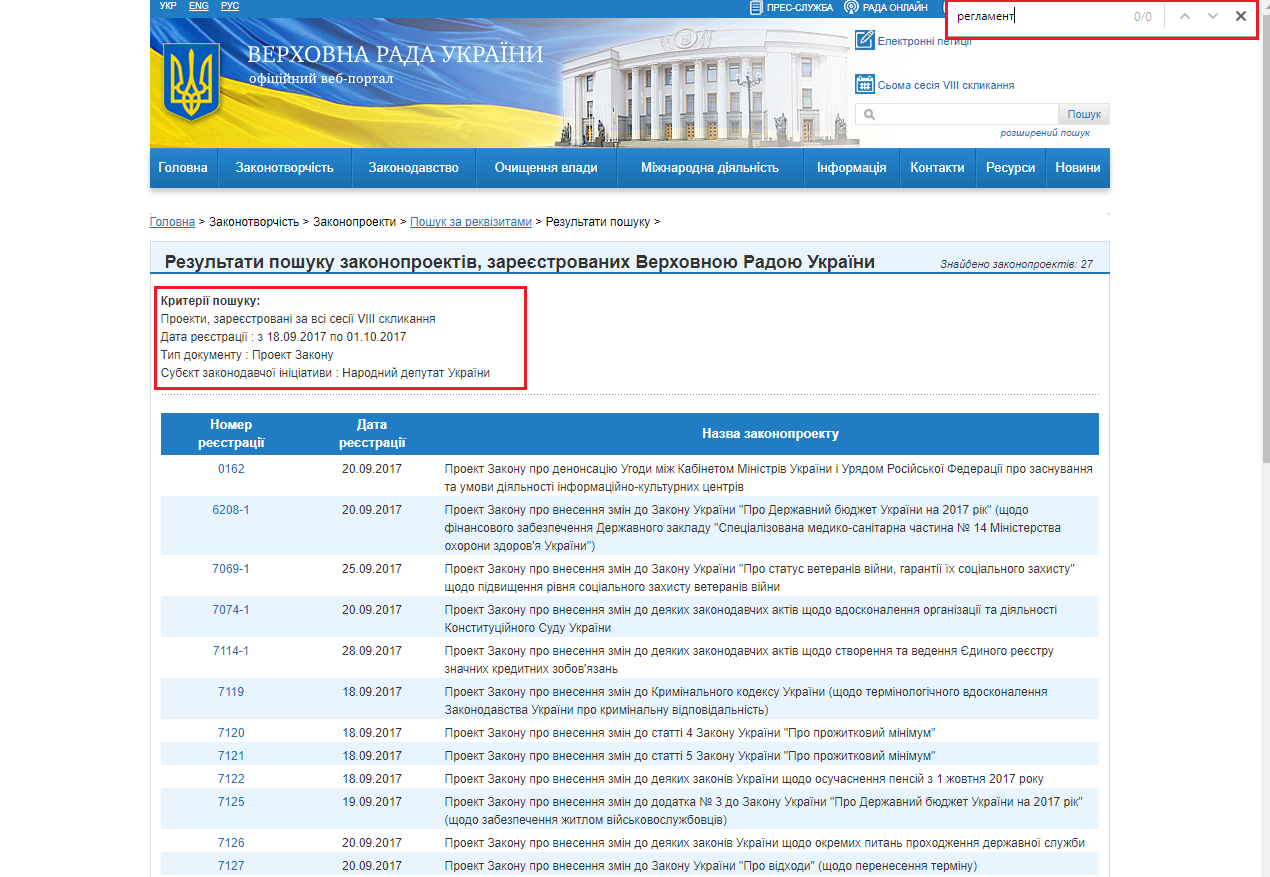 http://w1.c1.rada.gov.ua/pls/zweb2/webproc2_5_1_J?ses=10009&num_s=2&num=&date1=18.09.2017&date2=01.10.2017&name_zp=&av_nd=&prof_kom=0&is_gol_kom=0&dep_fr=0&stan_zp=0&date3=&is_zakon=0&n_act=&gneu_decision_present=&sub_zak=3&type_doc=1&type_zp=0&vid_zp=0&edition_zp=0&is_urgent=0&ur_rubr=0&sort=0&out_type=&id=&page=1